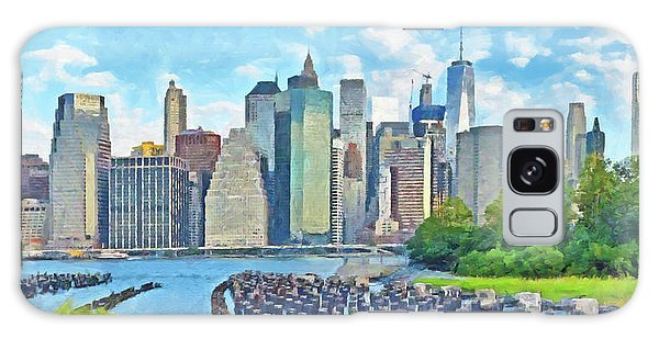 Galaxy Case featuring the digital art East River Pilings And New York City by Digital Photographic Arts