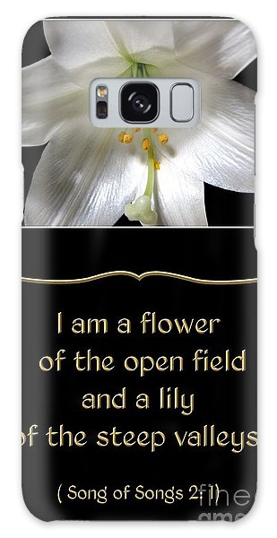 Galaxy Case featuring the photograph Easter Lily With Song Of Songs Quote by Rose Santuci-Sofranko
