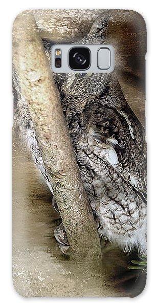 Eastern Screech Owl Plays Peek A Boo Galaxy Case by Eleanor Abramson
