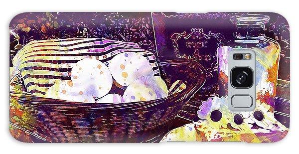 Galaxy Case featuring the digital art Egg Milk Butter Out Garden Herbs  by PixBreak Art