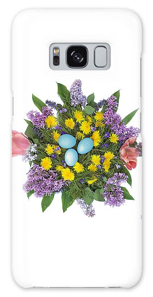 Eggs In Dandelions, Lilacs, Violets And Tulips Galaxy Case by Lise Winne
