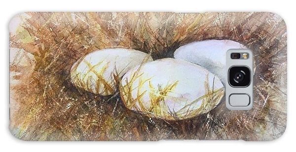 Eggs On Straw Galaxy Case by Lucia Grilletto