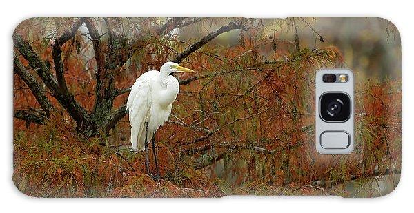 Egret In Autumn Galaxy Case