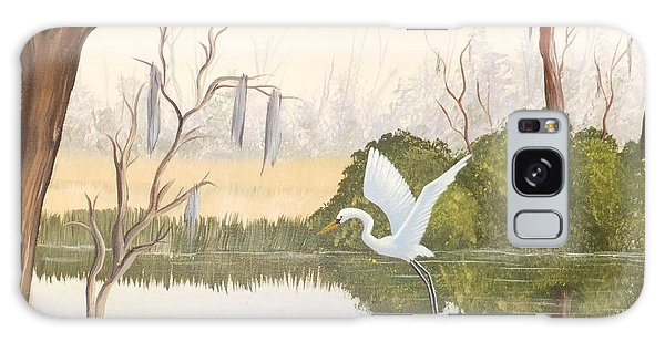 Egret In Flight 1 Galaxy Case by Denise Fulmer