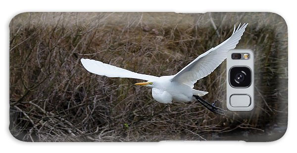 Egret In Flight Galaxy Case by George Randy Bass