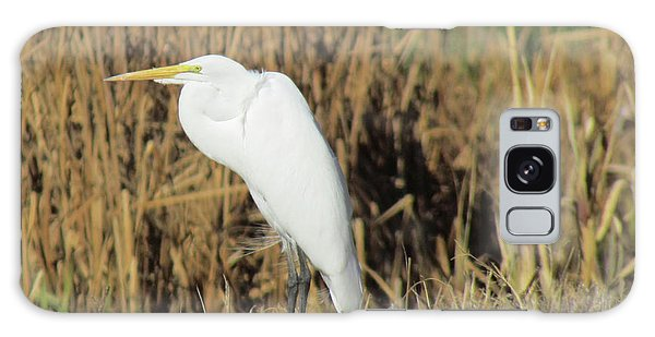 Egret In Grass Galaxy Case