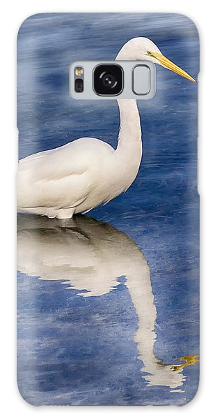 Egret Reflection On Blue Galaxy Case
