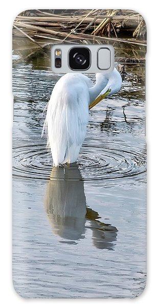 Egret Standing In A Stream Preening Galaxy Case