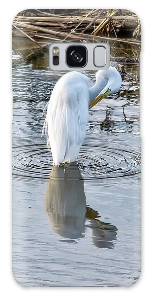 Egret Standing In A Stream Preening Galaxy Case