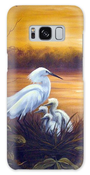 Egret With Chicks Galaxy Case