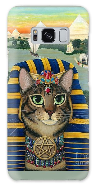 Galaxy Case featuring the painting Egyptian Pharaoh Cat - King Of Pentacles by Carrie Hawks