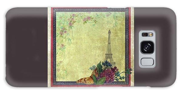 Eiffel Tower Faded Floral With Swirls Galaxy Case