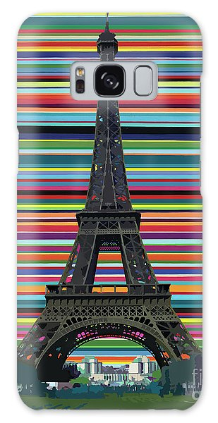 Galaxy Case featuring the painting Eiffel Tower With Lines by Carla Bank