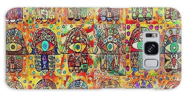 -eighteen Vintage Chai Hamsas Galaxy Case by Sandra Silberzweig