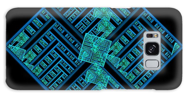 Electric Blue Squares Galaxy Case