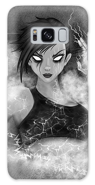 Electric Glitch - Black And White Fantasy Art Galaxy Case