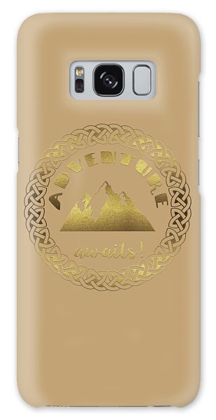 Galaxy Case featuring the digital art Elegant Gold Foil Adventure Awaits Typography Celtic Knot by Georgeta Blanaru