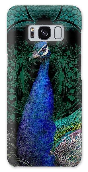 Elegant Peacock W Vintage Scrolls  Galaxy Case