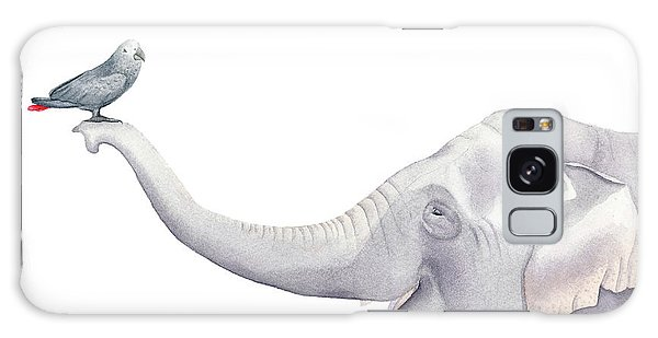 Elephant And Bird Watercolor Galaxy Case by Taylan Apukovska