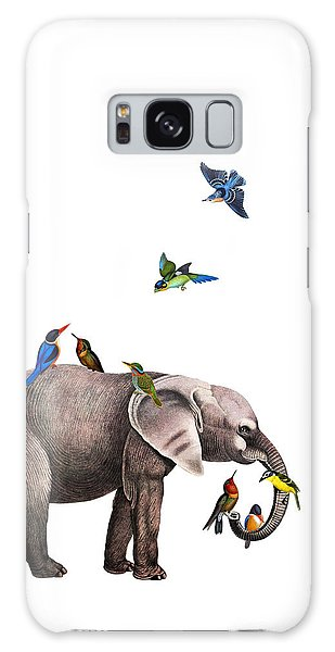 Hummingbird Galaxy S8 Case - Elephant With Birds Illustration by Madame Memento