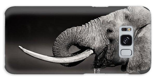 Bull Galaxy Case - Elephant Bull Drinking Water - Duetone by Johan Swanepoel