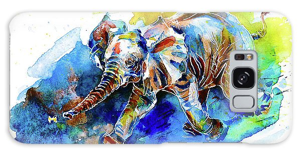 Elephant Calf Playing With Butterfly Galaxy Case