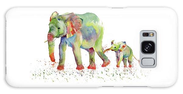 Elephant Family Watercolor  Galaxy Case