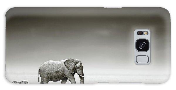 National Park Galaxy Case - Elephant With Zebra by Johan Swanepoel