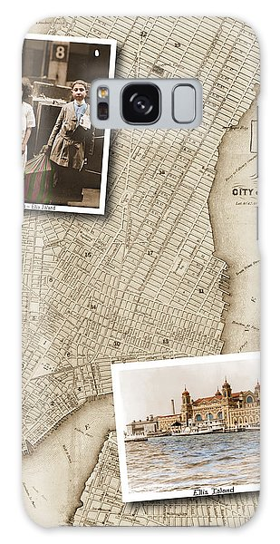 Ellis Island Vintage Map Child Immigrants Galaxy Case