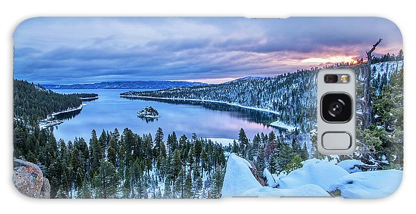 Emerald Bay Winter Sunrise Galaxy Case