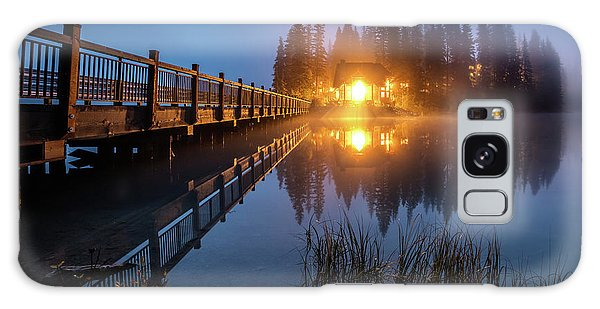 Galaxy Case featuring the photograph Emerald Lake Lodge In The Twilight Fog by Pierre Leclerc Photography