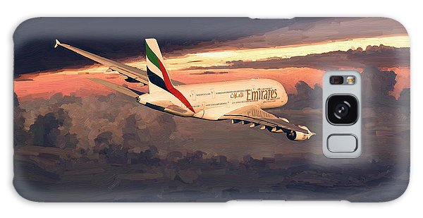 Emirates Airbus A380 Above Dubai Galaxy Case