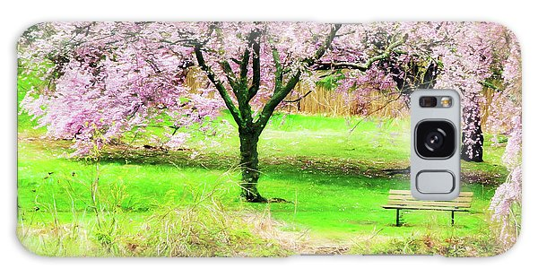 Galaxy Case featuring the photograph Empty Bench Surrounded By Spring Colors by Gary Slawsky