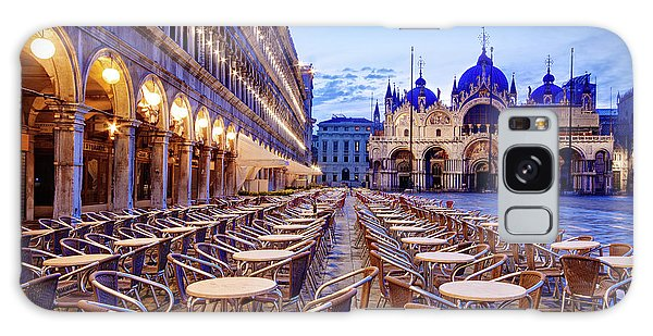 Galaxy Case featuring the photograph Empty Cafe On Piazza San Marco - Venice by Barry O Carroll