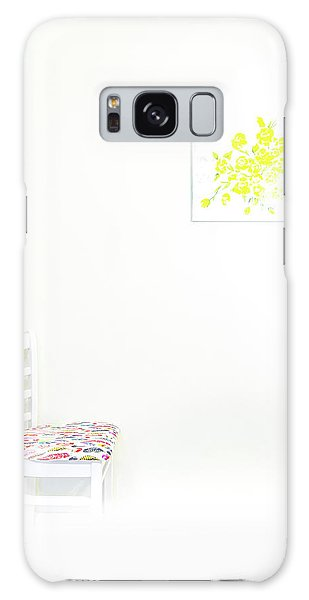 Empty Chair With Yellow Roses Galaxy Case