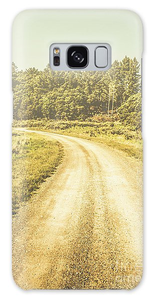 Foliage Galaxy Case - Empty Curved Gravel Road In Tasmania, Australia by Jorgo Photography - Wall Art Gallery