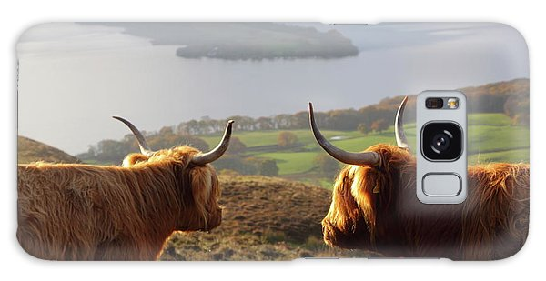 Enjoying The View - Highland Cattle Galaxy Case