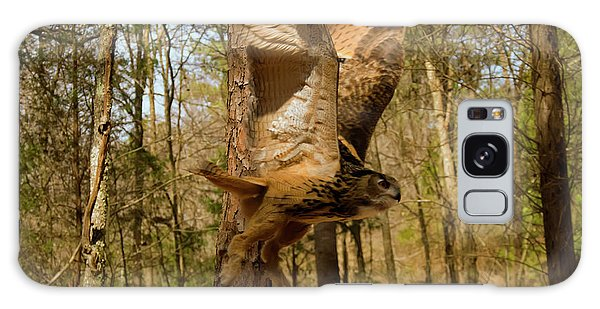 Eurasian Eagle Owl In Flight Galaxy Case by Chris Flees