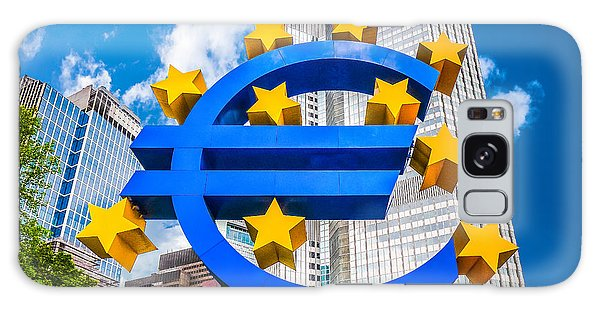 Euro Sign At European Central Bank In Frankfurt, Germany Galaxy Case