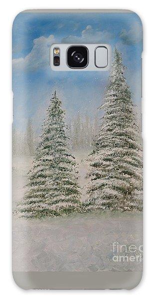 Evergreens In Snow  Galaxy Case