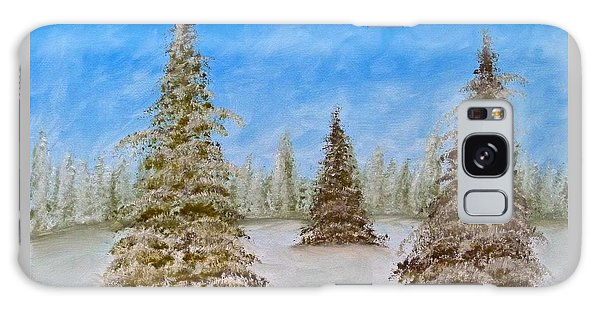 Evergreens In Snowy Field Enhanced Colors Galaxy Case