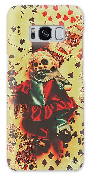 Gamble Galaxy Case - Evil Clown Doll On Playing Cards by Jorgo Photography - Wall Art Gallery