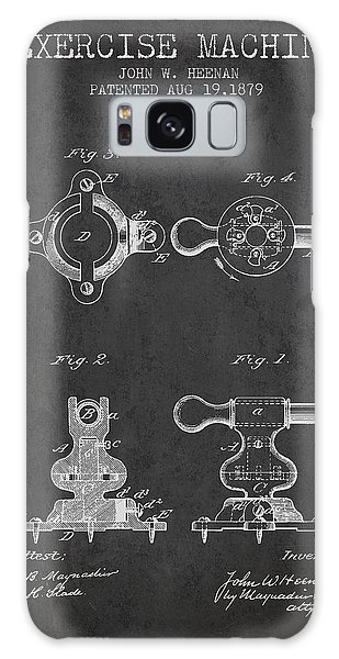 Workout Galaxy Case - Exercise Machine Patent From 1879 - Charcoal by Aged Pixel