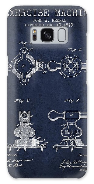 Workout Galaxy Case - Exercise Machine Patent From 1879 - Navy Blue by Aged Pixel