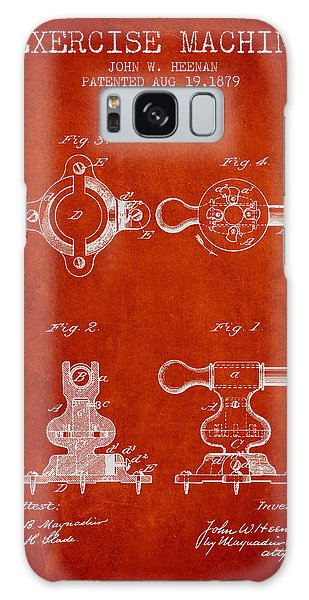 Workout Galaxy Case - Exercise Machine Patent From 1879 - Red by Aged Pixel