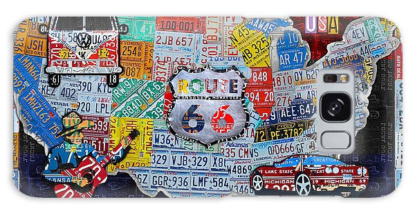 66 Galaxy Case - Explore The Usa License Plate Art And Map Travel Collage by Design Turnpike