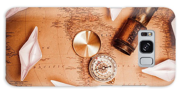 Navigation Galaxy Case - Explorer Desk With Compass, Map And Spyglass by Jorgo Photography - Wall Art Gallery