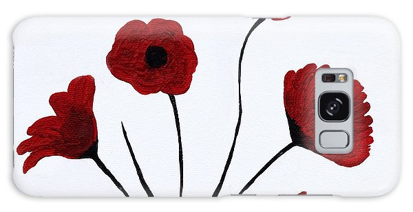 Galaxy Case featuring the painting Expressive Abstract Poppies A61216b_e by Mas Art Studio