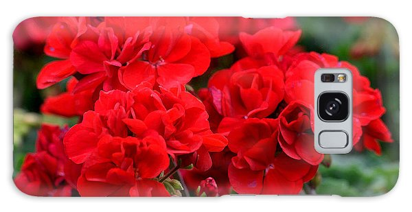 Galaxy Case featuring the painting Expressive Floral Red Geraniums E131716  by Mas Art Studio