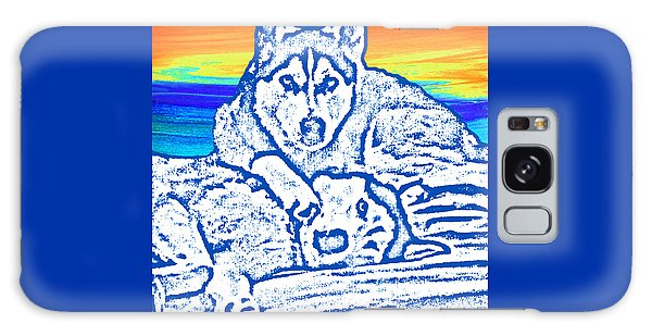 Galaxy Case featuring the painting Expressive Huskies Mixed Media C51816 by Mas Art Studio